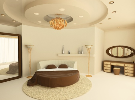 3d Round bed with a suspended ceiling in a luxurious bedroom  Stock Photo - 10031993