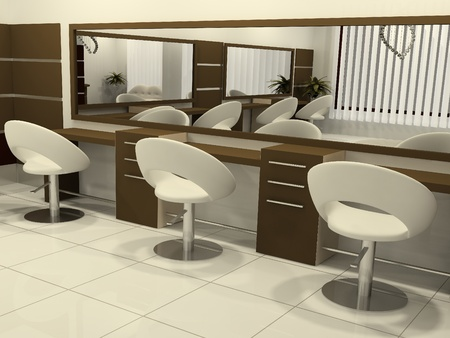 3D Perspective of Interior Hair Salon