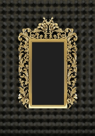 luxuriously: Luxury gold frame on the black background Stock Photo