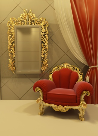 baroque room: 3d Royal  furniture in a luxurious interior Stock Photo