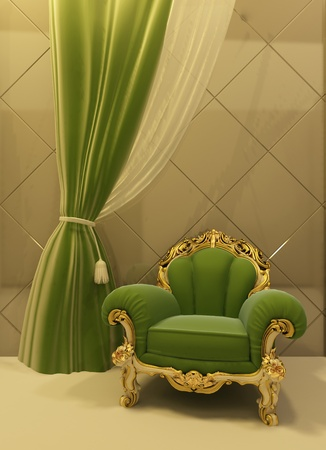 luxuriously: 3D Antique armchair in a luxurious interior
