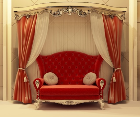 3D Red velvet curtain and royal sofa photo