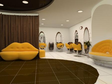 3d Interior of luxury beauty salon