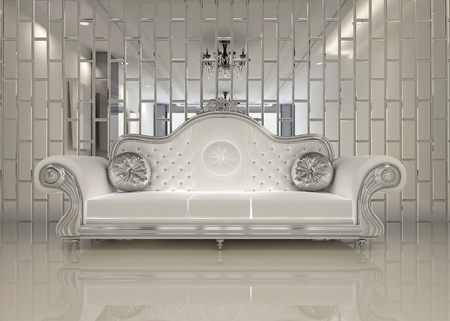 luxe: Modern white sofa in royal interior apartment space