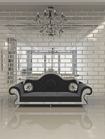 luxe: Modern black sofa in royal interior apartment space