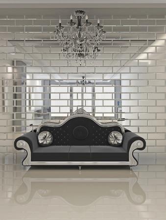 classic furniture: Modern black sofa in royal interior apartment space