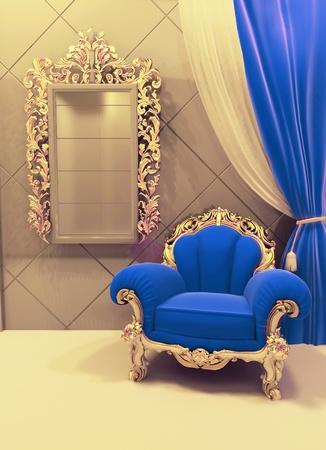 Royal  furniture in a luxurious interior, dark blue velvet, pattern photo