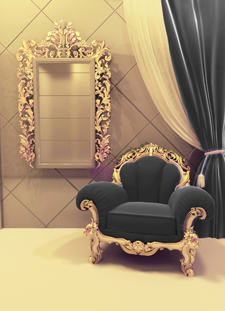 baroque room: Royal  furniture in a luxurious interior, black upholstery and golden baroque frame