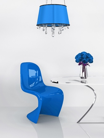 floor lamp: Modern blue chair in minimalism interior. Furniture. Loft. 3D Render