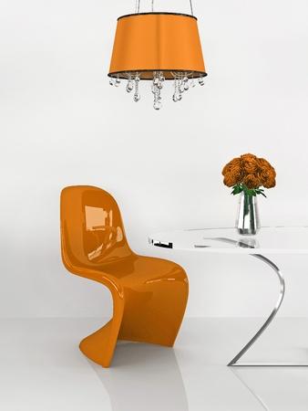interior furniture: Modern chair in orange minimalism interior. Furniture. Loft. 3D Render