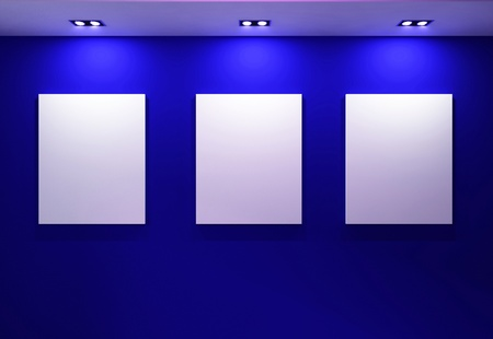 art gallery interior: Gallery Interior with empty frames on dark blue wall