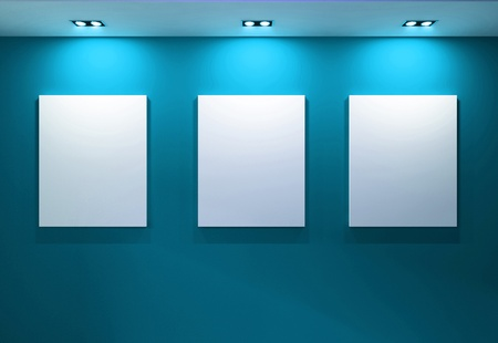 Gallery Interior with empty frames on aqua wall Stock Photo - 10099616