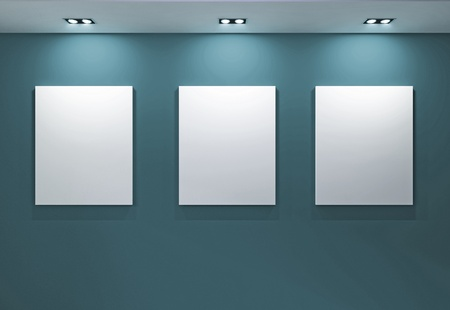 Gallery Interior with empty frames on blue wall Stock Photo