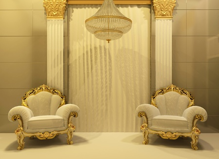 Luxury armchairs in royal interior photo