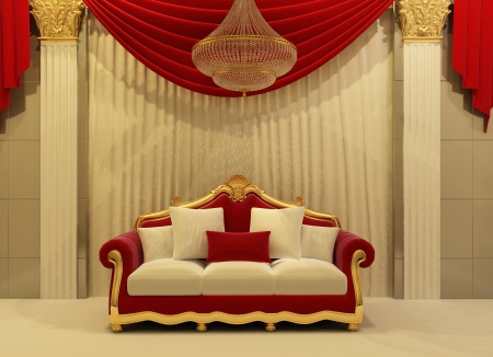 modern sofa in royal interior photo
