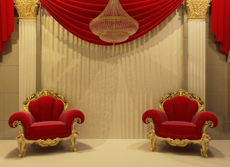 Baroque furniture in royal interior photo