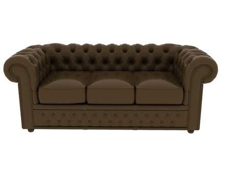 couch: brown leather sofa on white background