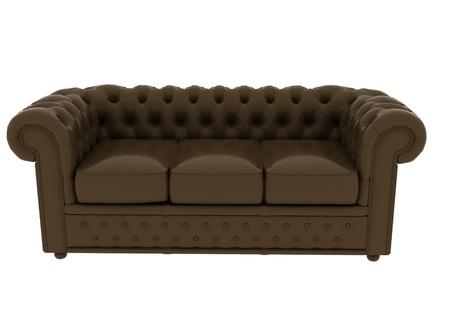 divan: sofá de cuero marrón sobre fondo blanco Foto de archivo