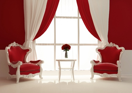 modern armchairs by the window in royal interior photo