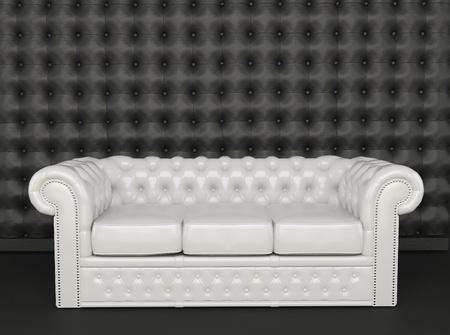 armrest: White leather sofa on a black background