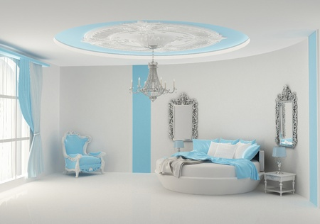 Round bed in baroque bedroom photo
