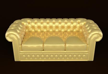 Luxury Sofa With Golden Leather Stock Photo   10300736