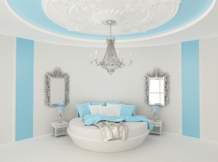 modern bedroom: Round bed in baroque interior. Luxurious furniture in  Blue room