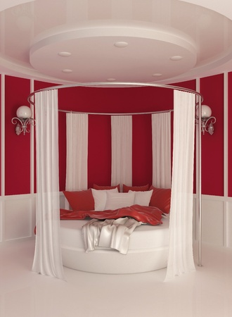 pattern bed: Round bed with curtain in modern interior Stock Photo