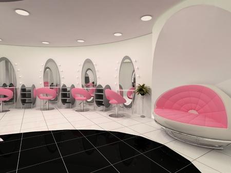 sal�n: Interior del Sal�n de belleza profesional Foto de archivo