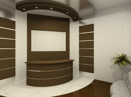 Reception desk in modern room