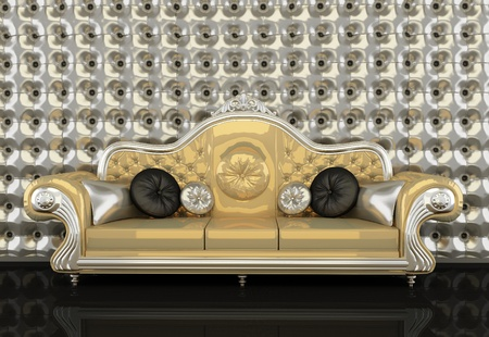 private club: Golden leather sofa with a silver frame on silver background