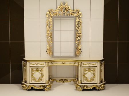 luxuriously: Baroque gold mirror with royal chest