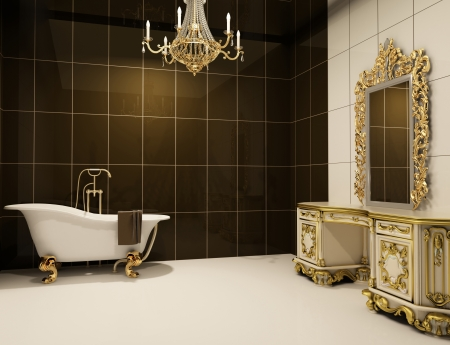 bathroom mirror: Baroque furniture in bathroom