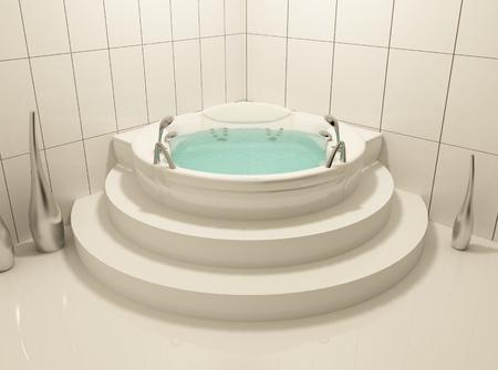 Single white bath in bathroom photo