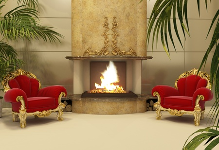 Baroque armchairs with fireplace in royal interior