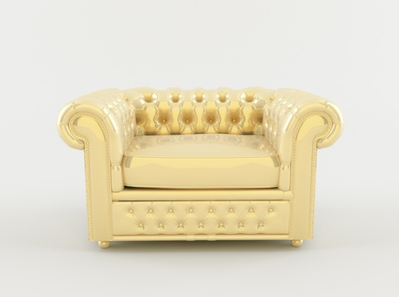 Golden leather armchair on white background