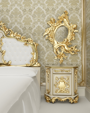 luxury furniture: Baroque furniture with vegetable decor in the form of smooth curves and curls