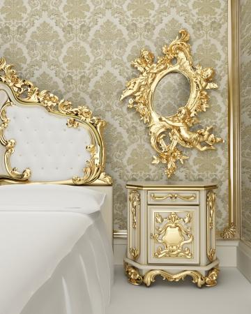 muebles antiguos: Muebles de estilo barroco con decoraci�n vegetal en forma de suaves curvas y rizos Foto de archivo