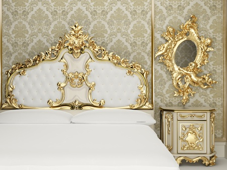 luxuriously: Baroque bedroom suite in royal interior Stock Photo