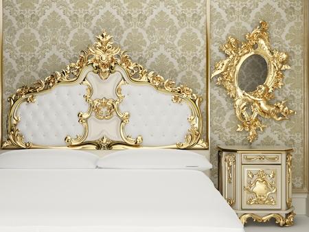 Baroque bedroom suite in royal interior Stock Photo