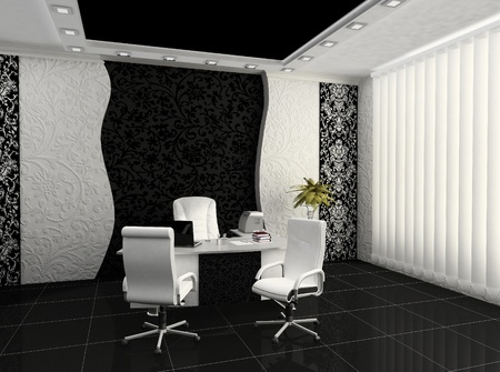 plasterboard: Workplace in modern office interior Stock Photo