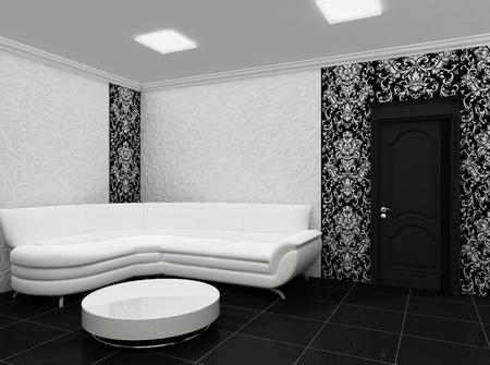 White sofa in stylish interior with decor