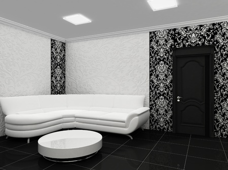White sofa in stylish interior with decor photo