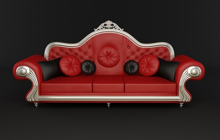 bumps: Red leather sofa with cushions