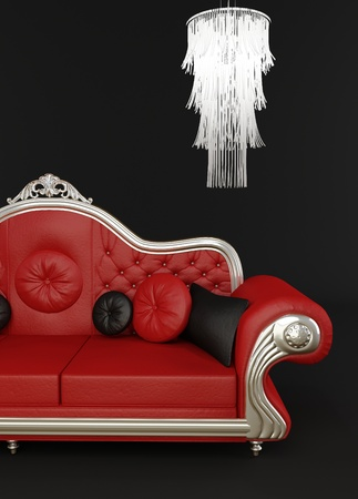 red sofa: Red leather sofa with chandelier