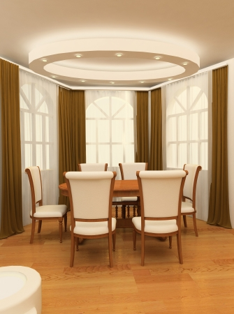big windows: Деревянный стол с креслом большими окнами Фото со стока