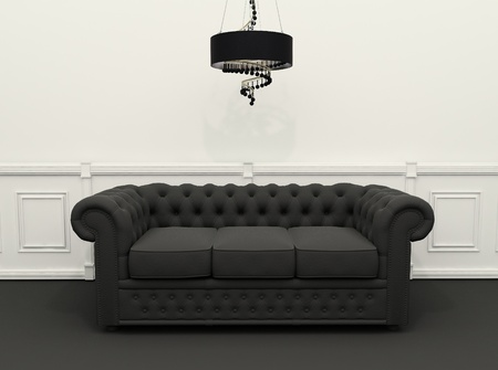 Black Sofa with chandelier in black and white classic interior