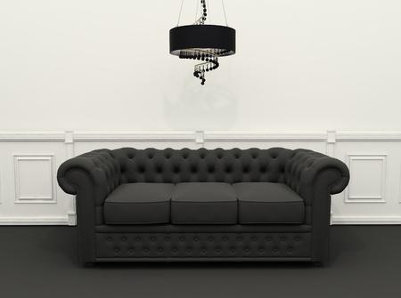 unconventional: Divano nero con lampadario in bianco e nero interni classici