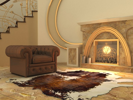 stone fireplace: Armchair and fell by fireplace in modern interior Stock Photo
