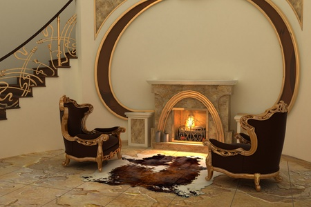 Armchairs by fireplace in modern interior photo